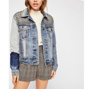 Free People | studded patched jean jacket